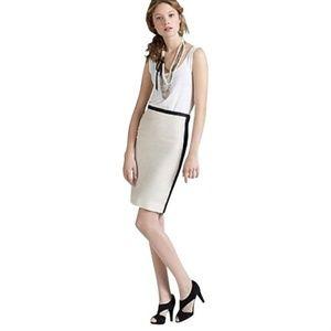J. Crew Contrast Pencil Skirt Lined Silk Linen 10